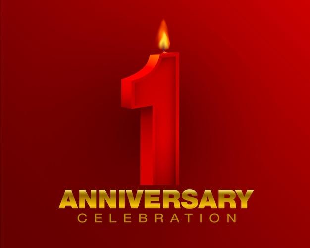 Celebrando un anno di anniversario rosso numero 1 e lume di candela su sfondo rosso