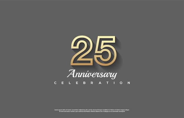 Celebrazione del 25 ° anniversario con numeri a strisce dorate.