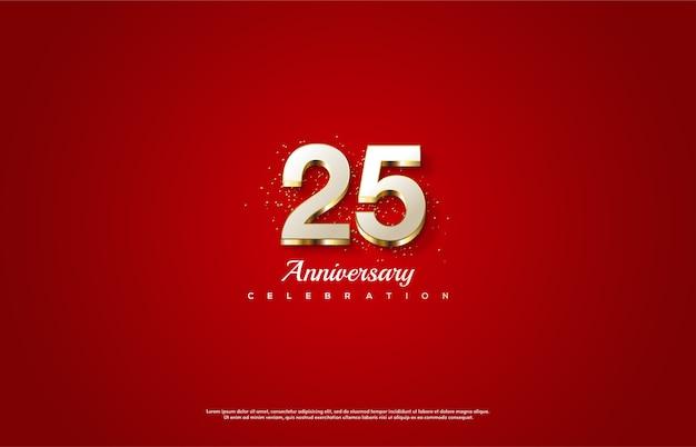 Celebrazione del 25 ° anniversario con numeri bianchi avvolti in oro.