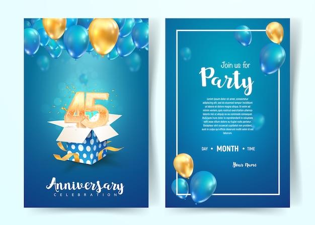 Celebrazione della scheda dell'invito di vettore di compleanno di 45 anni. opuscolo di celebrazione di quarantacinque anni.