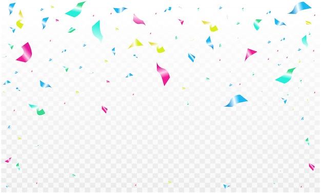 Modello di sfondo di celebrazione con coriandoli cornice di nastri colorati.