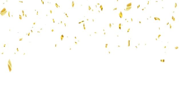 Modello di sfondo celebrazione con nastri d'oro coriandoli. biglietto di auguri di lusso ricco.