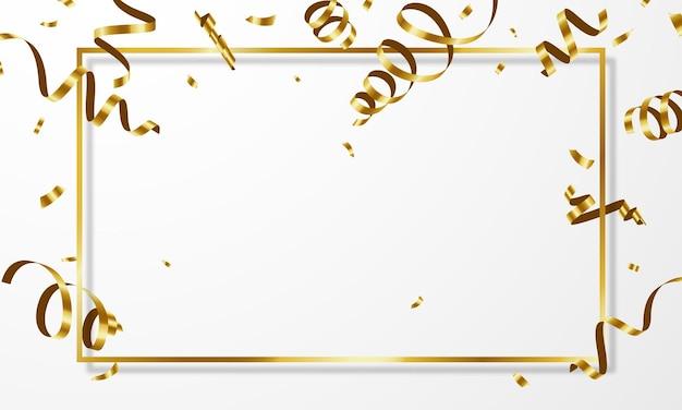 Modello di sfondo celebrazione con nastri d'oro di coriandoli