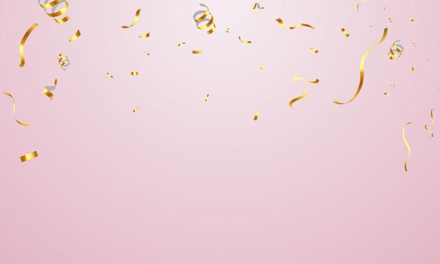Modello di sfondo celebrazione con nastri d'oro coriandoli.
