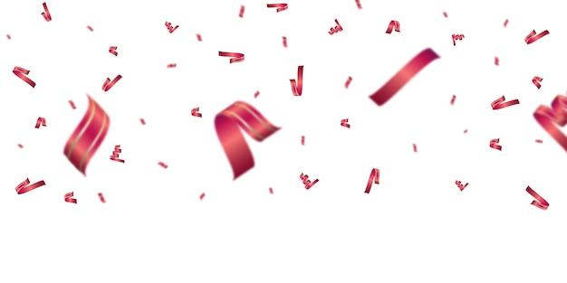 Modello di sfondo di celebrazione con coriandoli e nastri rossi. Vettore Premium
