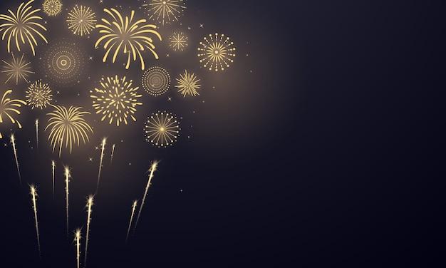 Modello di sfondo di celebrazione con fuochi d'artificio d'oro. biglietto di auguri ricco di lusso.