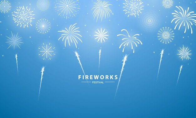 Modello di sfondo di celebrazione con fuochi d'artificio. biglietto di auguri ricco di lusso.