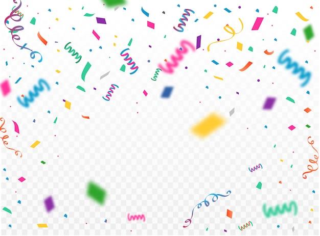 Modello di sfondo di celebrazione con konfetti e nastri colorati.