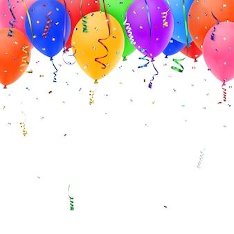 Sfondo di celebrazione con coriandoli colorati, nastri e palloncini. illustrazione.