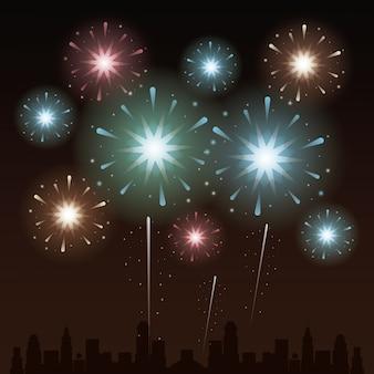 Sfondo di celebrazione con fuochi d'artificio