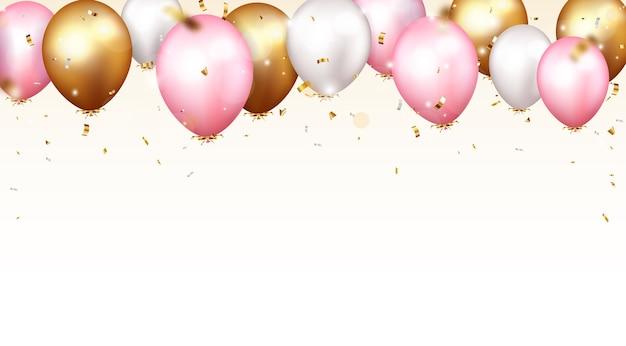 Banner di celebrazione con coriandoli e palloncini d'oro