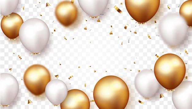 Banner festa con palloncini oro e argento e coriandoli