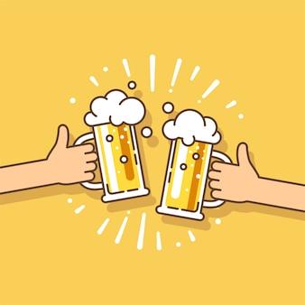 Celebration beer festival due mani che tengono la bottiglia di birra e il bicchiere di birra