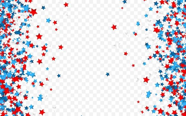 Coriandoli di celebrazione nei colori nazionali degli stati uniti. coriandoli di festa nei colori della bandiera degli stati uniti. 4 luglio giorno dell'indipendenza