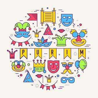 Set di illustrazioni di linee sottili di celebrazione festival vacanza festa attrezzature.