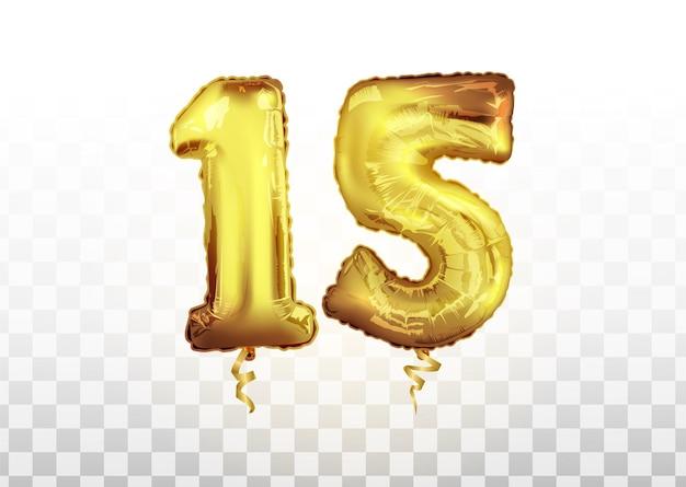 Celebrazione del compleanno di quindici anni. palloncino foil d'oro numero 15 anniversario. buon compleanno, poster di congratulazioni. sfondo vettoriale