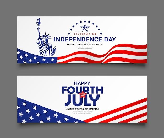 Celebrazione della bandiera del giorno dell'indipendenza dell'america con i banner delle collezioni di design della statua della libertà