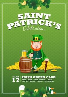 Celebration flyer della celebrazione di san patrizio con irish man holding stick