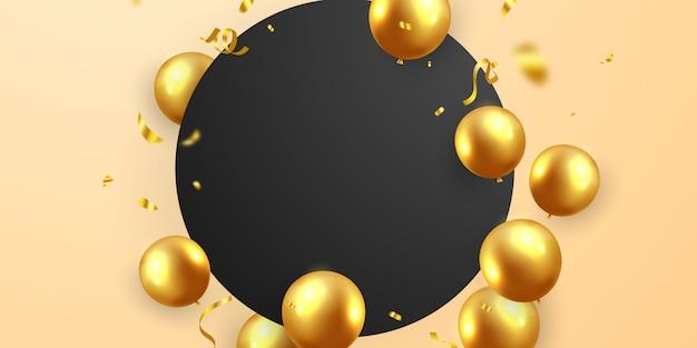 Banner festa cornice celebrazione con palloncini d'oro.