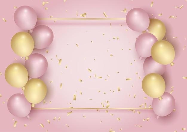 Cornice celebrativa con design di coriandoli e palloncini