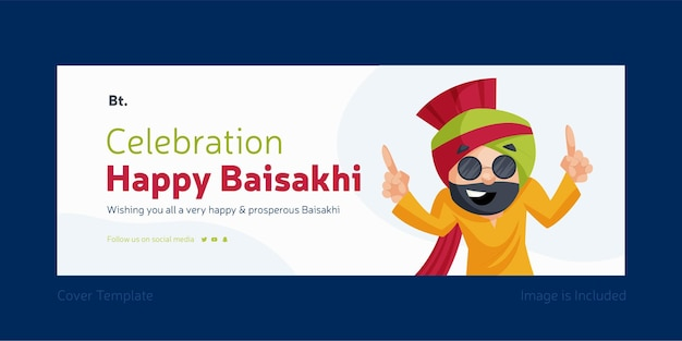Celebration happy baisakhi facebook cover design template