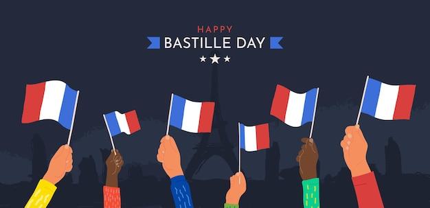 Celebrazione felice giorno della bastiglia luglio illustrazione vettoriale cartone animato mani sventolando bandiere francia su dark