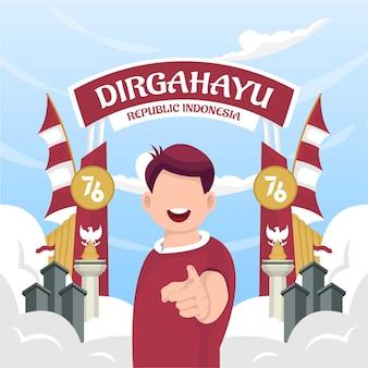 Celebrazione della festa dell'indipendenza dell'indonesia il 17 agosto (dirgahayu republik indonesia). bandiere nazionali indonesiane. illustrazione vettoriale