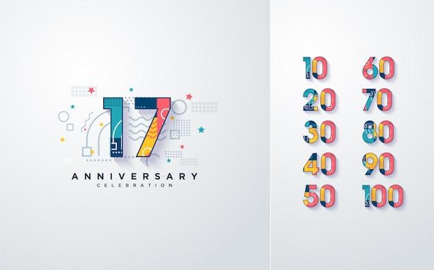 Numeri di celebrazione con elementi astratti colorati.