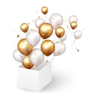 Celebrazione fuori dagli schemi con coriandoli e palloncini d'oro