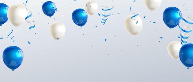 Bandiera del partito di celebrazione con sfondo di palloncini di colore blu