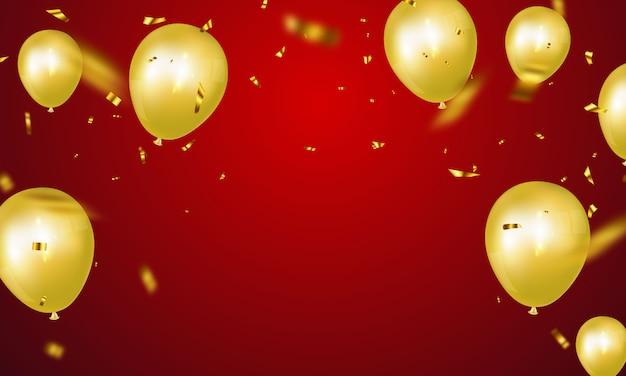 Banner festa di celebrazione con sfondo di palloncini d'oro. biglietto d'auguri di lusso ricco di auguri.