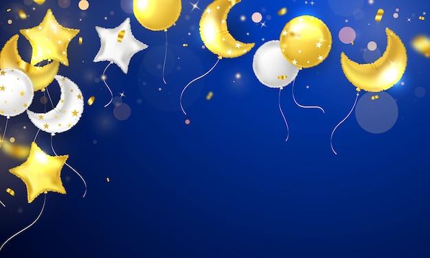 Banner festa di celebrazione con sfondo di palloncini d'oro. vendita. biglietto di inaugurazione di lusso ricco di auguri.