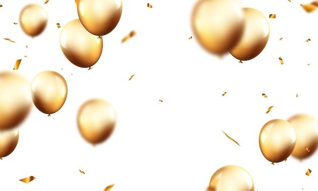 Bandiera del partito di celebrazione con sfondo di palloncini d'oro. illustrazione di vettore di vendita. grand opening card lusso saluto ricco.