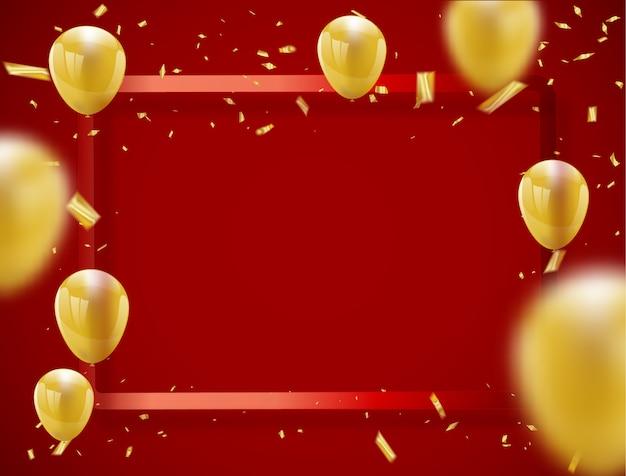 Insegna del partito di celebrazione con la struttura rossa del fondo dei palloni dorati.