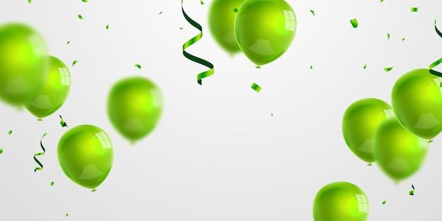 Bandiera del partito di celebrazione con sfondo di palloncini verdi. vendita . biglietto d'auguri di lusso ricco di auguri.
