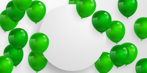 Bandiera del partito di celebrazione con sfondo di palloncini di colore verde. illustrazione di vettore di vendita. grand opening card lusso saluto ricco. modello di cornice.