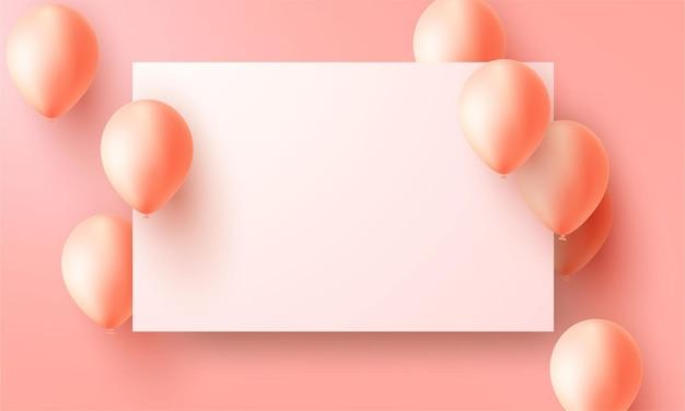 Bandiera del partito di celebrazione con sfondo di palloncini di colore arancione. illustrazione di vettore di vendita. grand opening card lusso saluto ricco. modello di cornice.