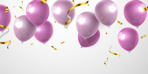 Banner festa di celebrazione con sfondo di palloncini rosa. vendita . biglietto d'auguri di lusso ricco di auguri.