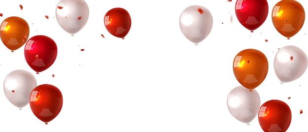 Bandiera del partito di celebrazione con sfondo di palloncini di colore arancione rosso. illustrazione di vettore di vendita. grand opening card lusso saluto ricco. modello di cornice.