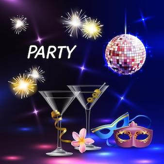 Gli accessori realistici della festa di celebrazione illumina le maschere per gli occhi dei bicchieri da cocktail per l'illustrazione di vettore di nozze di promozione dell'evento notturno festivo
