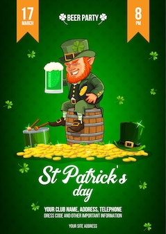 Il manifesto di celebrazione del giorno di san patrizio con l'illustrazione di un uomo irlandese tiene un bicchiere di birra