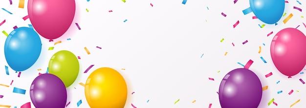 Celebrazione con coriandoli colorati e palloncini