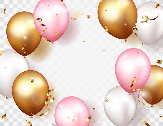Celebrazione con coriandoli d'oro e palloncini