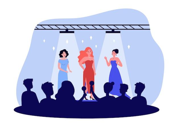 Celebrità che si esibiscono sul palco piatto illustrazione vettoriale. donne popolari in abiti chic in posa di fronte a una folla di giornalisti, fan. concerto, sfilata di moda, evento pubblico, concetto di popolarità