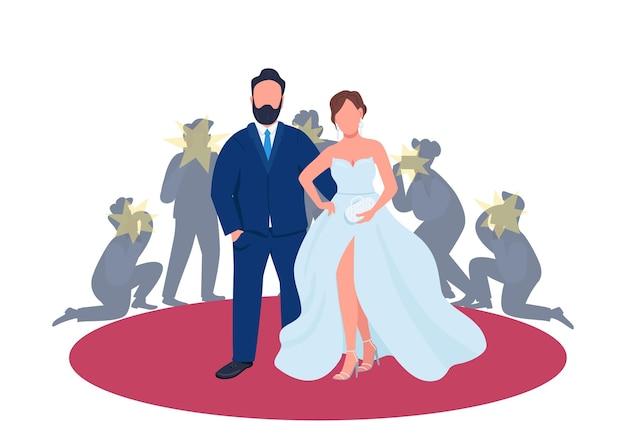 Coppie della celebrità sull'illustrazione piana di concetto del tappeto rosso