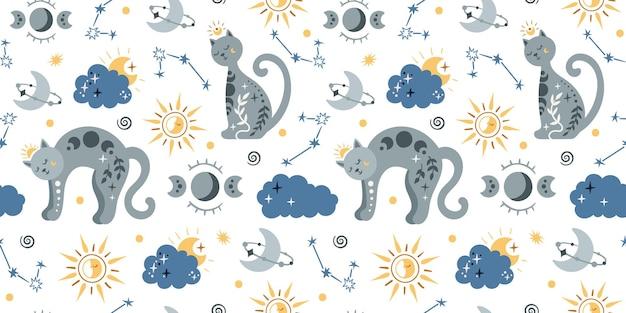 Modello senza cuciture per bambini boho celeste con gatto spaziale