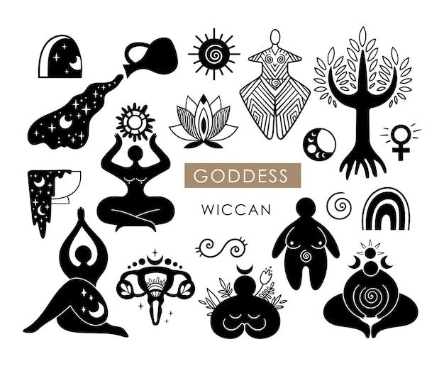 Dea celeste cliparts donna wiccan silhouette femminile simbolo luna e sole vettore