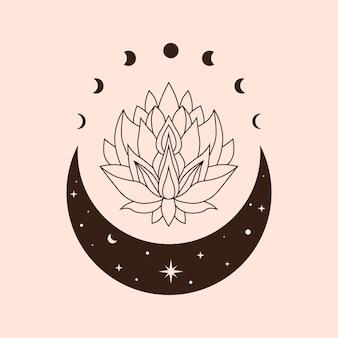Illustrazione celeste lotus arte magica e mistica