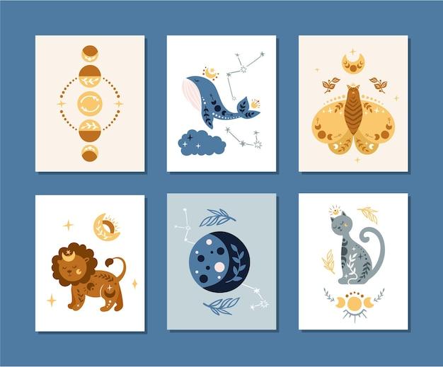 Bundle di poster boho della scuola materna celeste con gatto spaziale