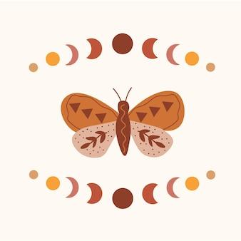 Celeste sole luna farfalla costellazione dello zodiaco t shirt design grafico